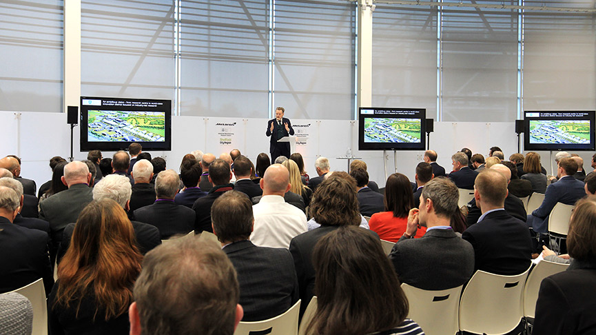 Sir Keith Burnett addresses the crowd at McLaren and AMRC launch event