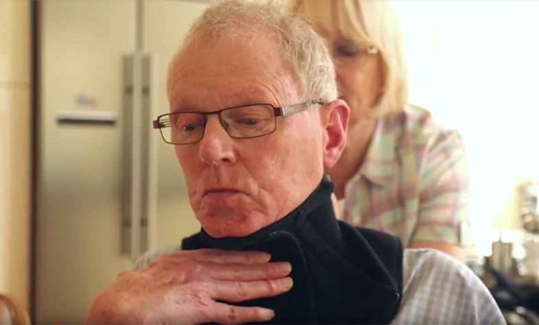 MND patient Philip trialling the Head Up collar