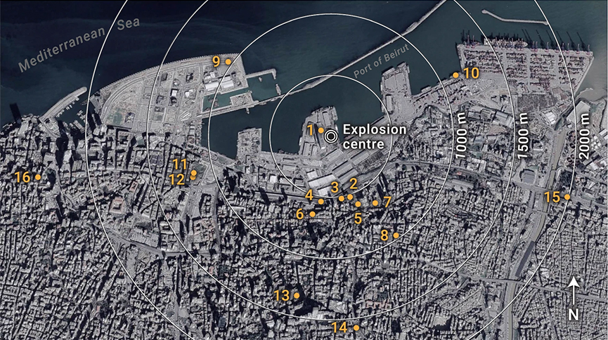 A map of Beirut showing how the shockwave from the blast travelled