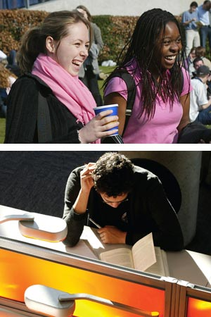 Two images: students in sunshine and student at help desk