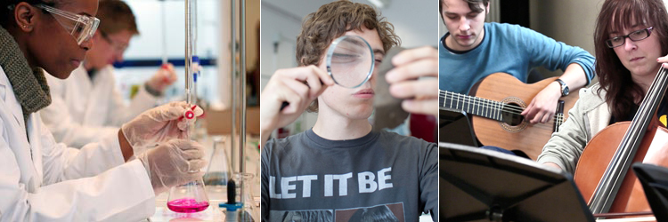 Images showing: student in chemistry lab: student with magnifying glass: student playing violin