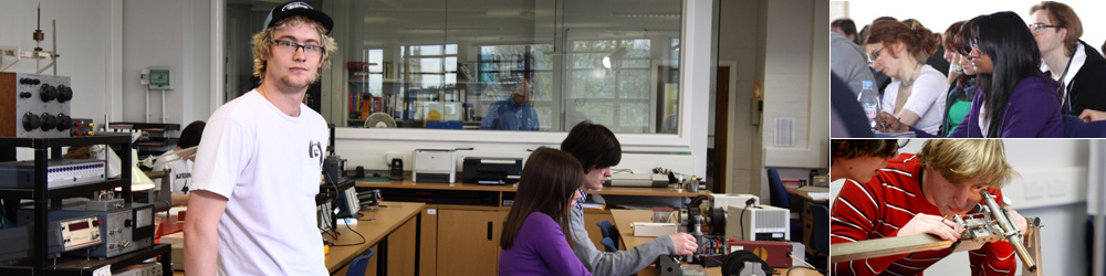 Series of images: student in class; students in lecture theatre; student in research lab