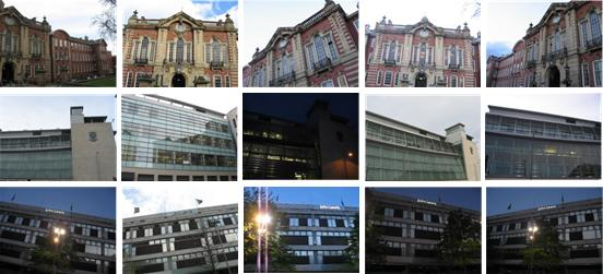sample of 15 different building images