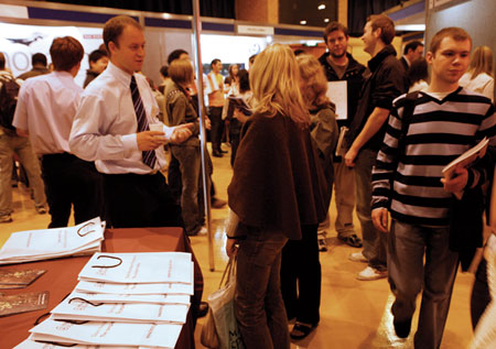 Students at a careers show