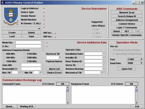 Main interface window of the AISG Test Tool Configured as a Primary Station.