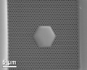 SEM Image of a FIB milled Photonic Crystal