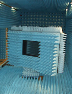 Anechoic chamber 1 showing apparatus for measuring attenuation properties of train windows.