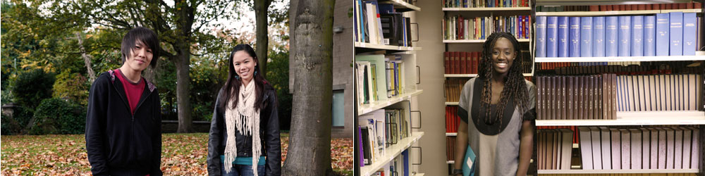 Image 1: two students standing outside department; Image 2: a student inside with rows of books