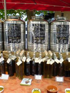 A line of cooking oil jars