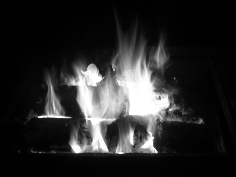 black and white photos. Black and white fire