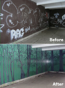 Photo: A local area is cleaned up and mural is painted over the graffiti