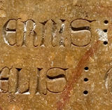 Close up of an ancient inscription
