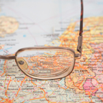Spectacles on a map of Europe