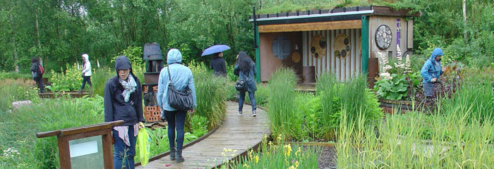 students walking through the London Wetland Centre