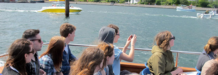 students on boat trip