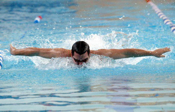 A swimmer at the University's S10 facility