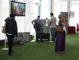 Visitors at an art exhibition