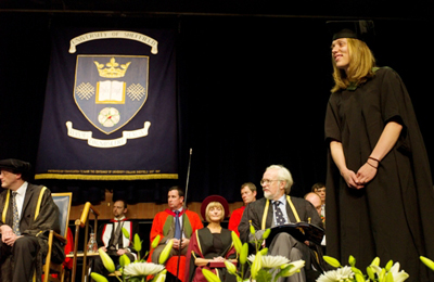 Emily Nix receiving the 2011 University of Sheffield Chancellor's Medal