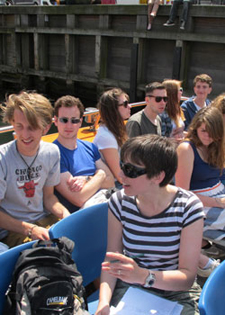 Lecturer Nicola Dempsey with students on a filed trip to copenhagen