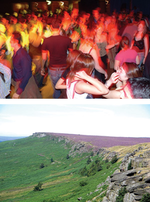 Student enjoying the Sheffield Nightlife and a picture of the peak district