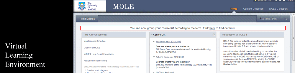 MOLE 2 Virtual Learning Environment