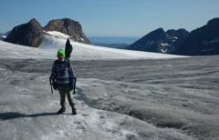 Dr Edward Hanna at the glacier in Greenland