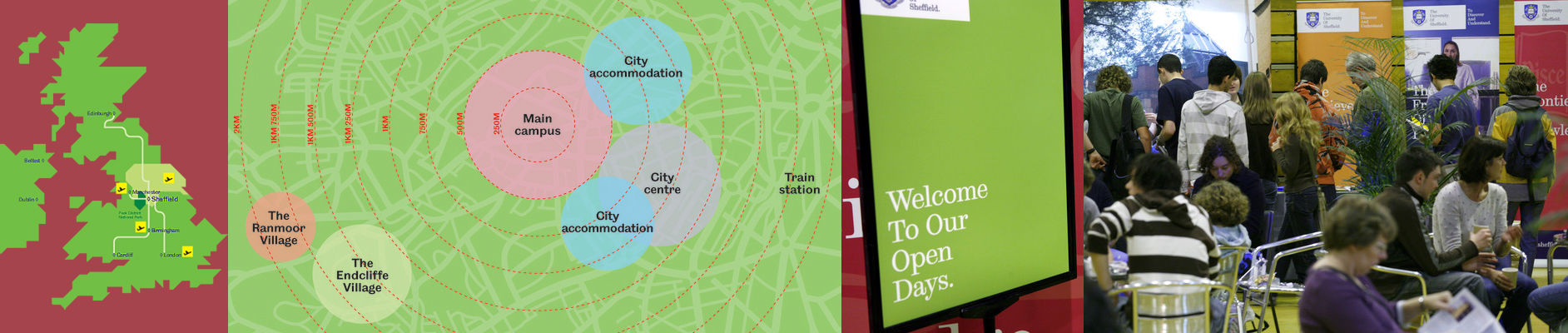 Image banner showing Sheffield university's location within the UK and visitors at an open day