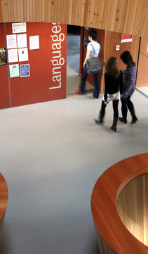 Students walking through the Language School's door