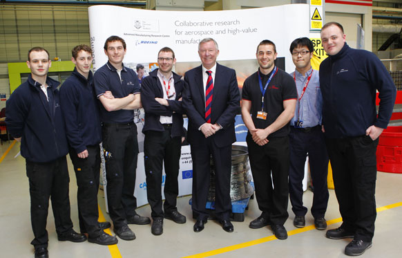 Sir Alex with AMRC employees