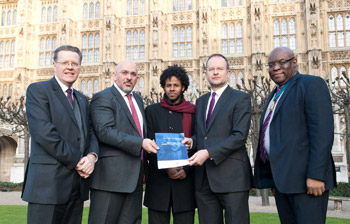 Representatives supporting the report outside the House of Commons