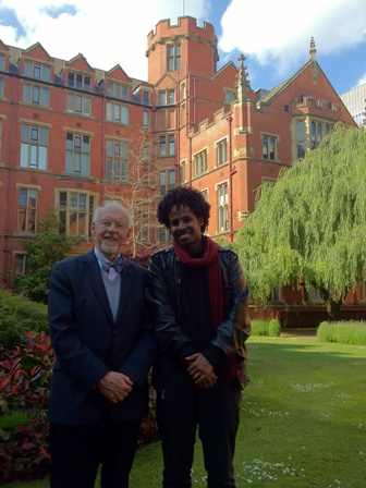 Sir Hans Kornberg with Student President outside Firth Court