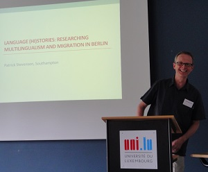 Photo of keynote speaker at Luxembourg Workshop
