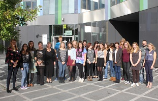 Team of students and trainers on the LEAP project, outside Jessop West