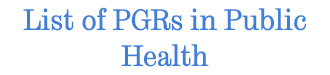 Click for a list of PGR students in Public Health
