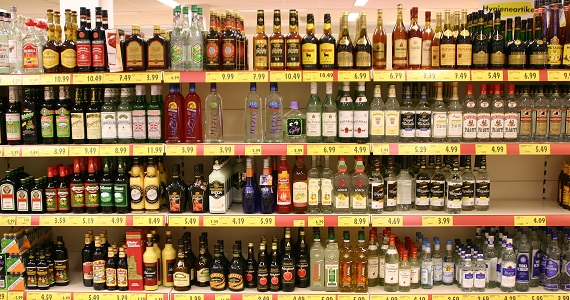 Alcohol in a supermarket - licensed under CC BY 2.5