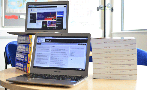 A laptop showing MOLE next to a pile of books