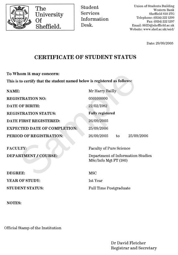 Example standard certificate of student status ssid the certificate of student status standard example yadclub Image collections