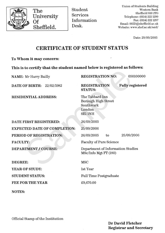 Example Term Time Address Certificate Of Student Status
