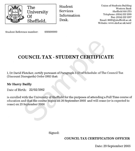 Example of certificate council tax ssid the university of council tax exemption certificate example yelopaper Gallery