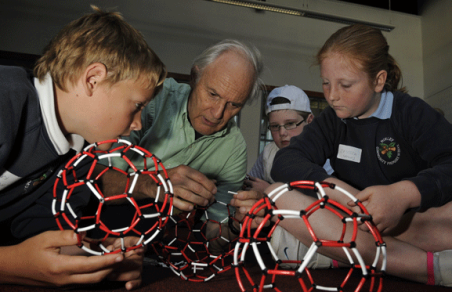 Prof Sir Harry Kroto leading Bucky Ball workshop