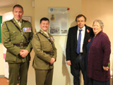 Cadets with Major William Allen's grandson at the unveiling of the plaque