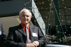 Professor Sir Harry Kroto with his giant Buckyball