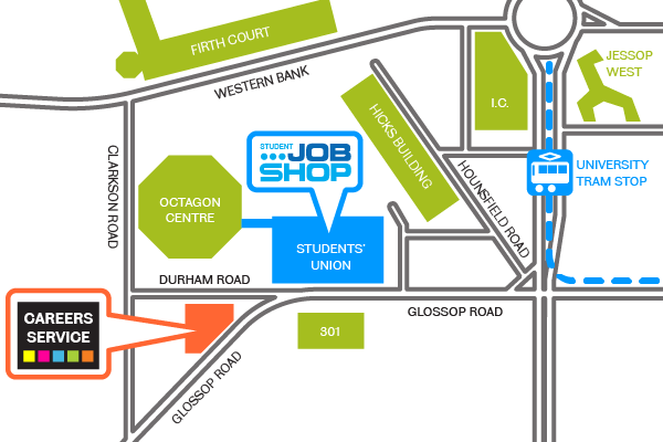 Map of the Careers Service and Jobshop