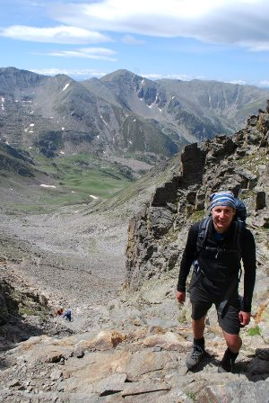 Iain Twigg climbing the Canigou mountain in the Pyrenees