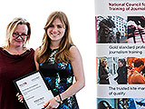 Rachael Venables receives her NCTJ media law award from ITV's Catherine Houlihan