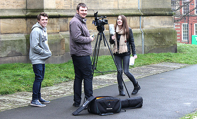 School students at the taster day shooting footage outside St George's Church