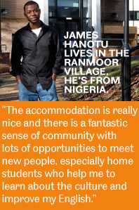 Image and quote from an international student living in The Ranmoor Village