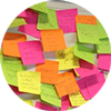 A board of postit notes