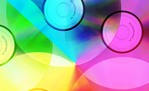 multi-coloured CDs