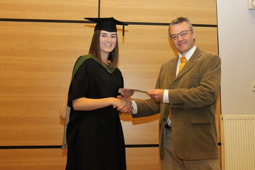 Sarah Byard receiving the Farapack Polymers Prize